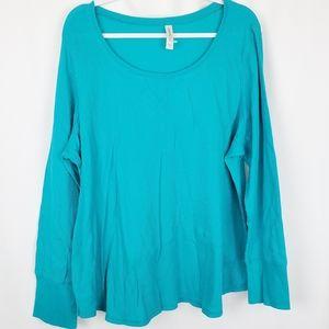Cacique Blue Waffle Knit Thermal Pajama Shirt